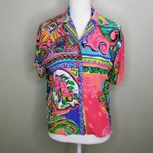 Vintage Carole Little Colorful Blouse PM